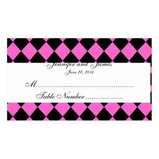 Tarjeta blanca negra rosada del lugar del boda del tarjetas de visita