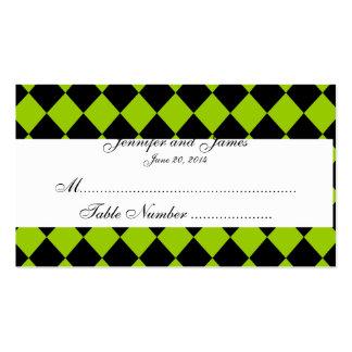Tarjeta blanca negra verde del lugar del boda del tarjetas de visita