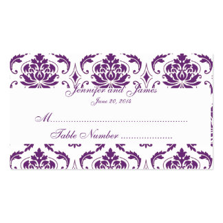 Tarjeta blanca púrpura del lugar del boda del tarjetas de visita