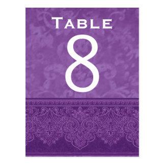 Tarjeta blanca púrpura rica del número de la tabla postal