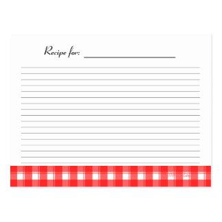 Tarjeta blanca roja de la receta de la tela postales