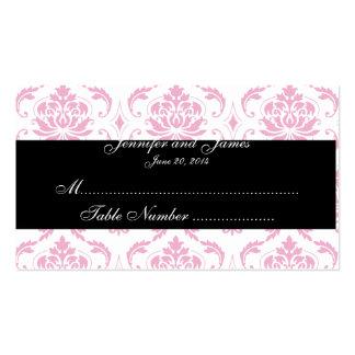 Tarjeta blanca rosada del lugar del boda del tarjetas de visita