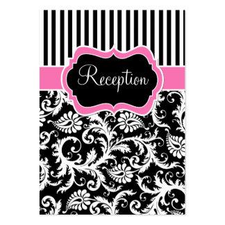 Tarjeta blanca rosada negra del recinto del damasc
