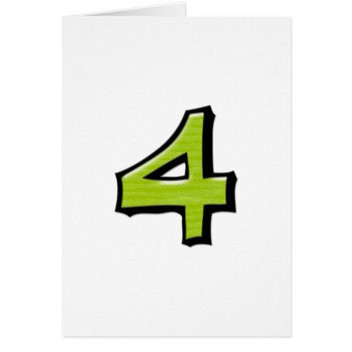 Tarjeta blanca verde del número 4 tontos