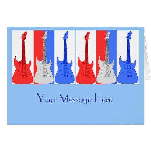 Tarjeta blanca y azul roja de las guitarras