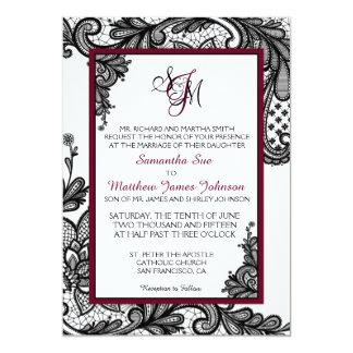 Tarjeta blanca y negra de la invitación del boda
