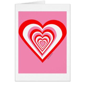 Tarjeta blanca y rosada roja del corazón