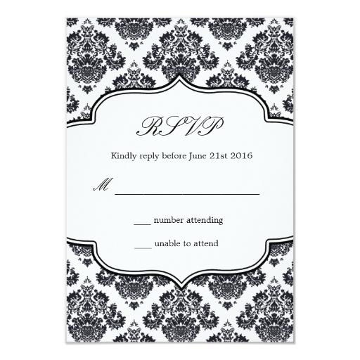 """Tarjeta blanco y negro de la respuesta del boda invitación 3.5"""" x ..."""