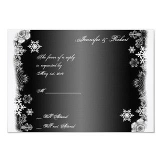 Tarjeta blanco y negro de la respuesta del boda invitación 8,9 x 12,7 cm