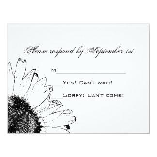 Tarjeta blanco y negro de la respuesta del boda invitación 10,8 x 13,9 cm