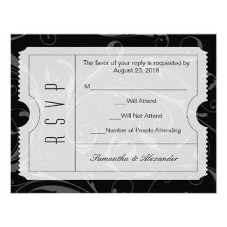 Tarjeta blanco y negro de RSVP del boleto del boda Comunicados