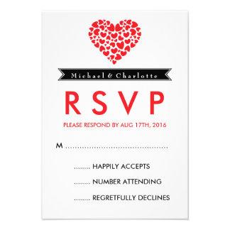 Tarjeta blanco y negro de RSVP que se casa con el Comunicados Personales