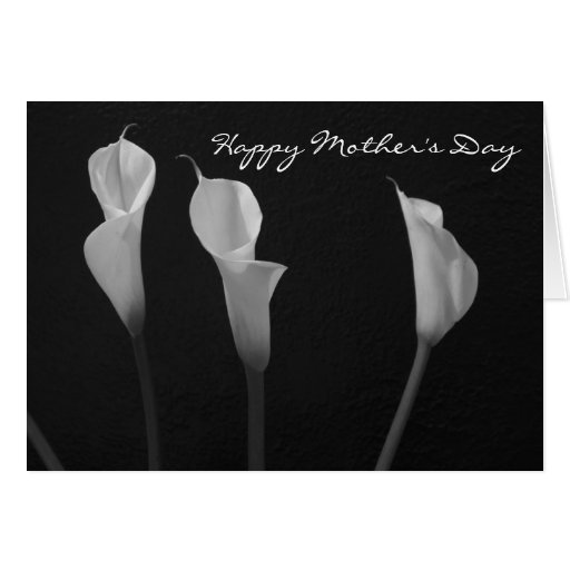 Tarjeta blanco y negro del día de madre de las flo