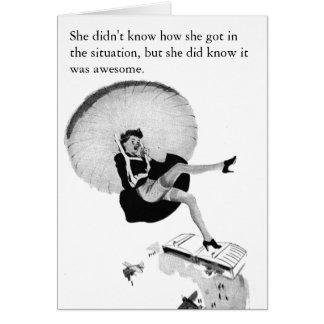 Tarjeta blanco y negro del vintage divertido