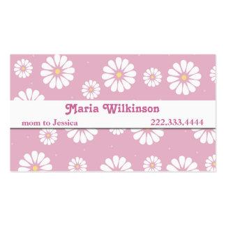 Tarjeta bonita de la mamá de la margarita rosada y tarjetas de visita