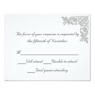 Tarjeta bordada plata de la respuesta del boda de invitacion personalizada