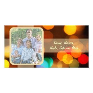 Tarjeta borrosa colorida de la foto del día de fie tarjeta fotografica personalizada