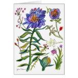 Tarjeta botánica de la flor de 55 azules