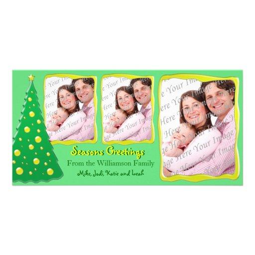 Tarjeta brillante brillante de la foto de los salu tarjeta con foto personalizada