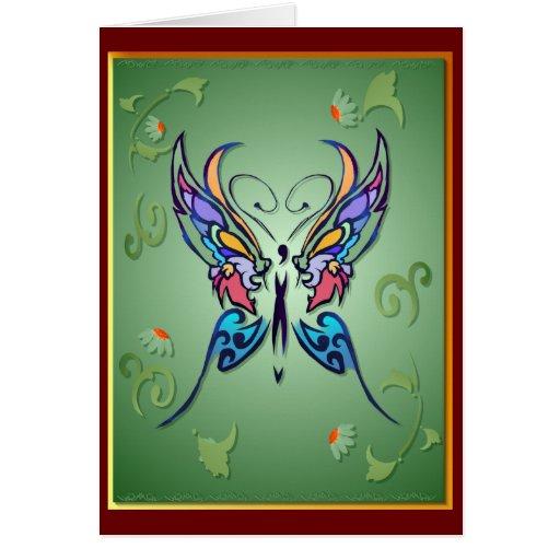 Tarjeta brillante de la mariposa