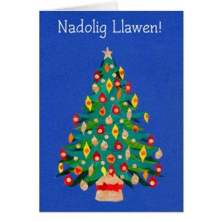 Tarjeta brillante del árbol de navidad, saludo