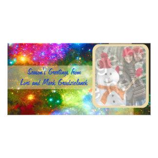 Tarjeta brillante del día de fiesta de la foto de  tarjeta fotografica personalizada