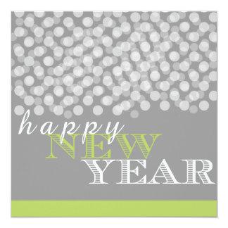 Tarjeta brillante gris verde de las luces de la invitación 13,3 cm x 13,3cm
