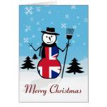 Tarjeta británica del muñeco de nieve de Union Jac