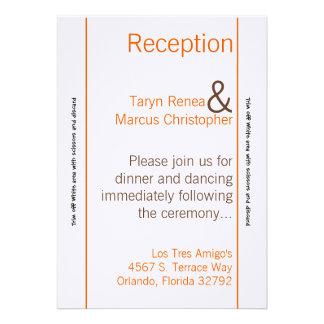 tarjeta Brown Orán Chevron de la recepción 3.5x7 Invitaciones Personalizada