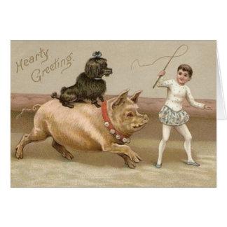 Tarjeta calurosa del circo del cerdo y del perro d