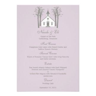Tarjeta caprichosa del menú del boda de la capilla invitación