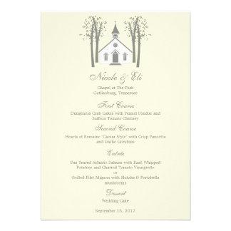 Tarjeta caprichosa del menú del boda de la capilla comunicados personales