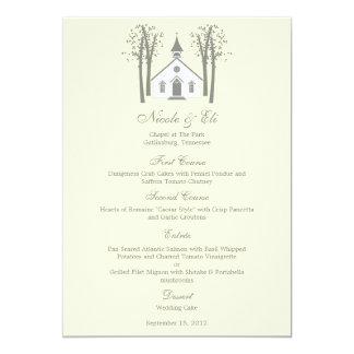 "Tarjeta caprichosa del menú del boda de la capilla invitación 5"" x 7"""