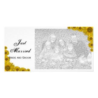Tarjeta casada de la foto del borde del girasol ap tarjeta fotografica personalizada