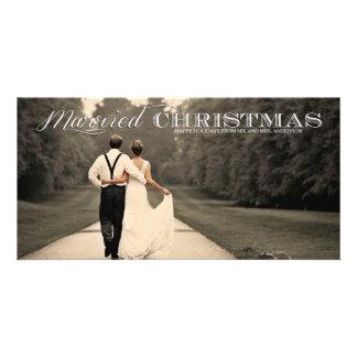 Tarjeta casada de la foto del día de fiesta de la tarjeta con foto personalizada