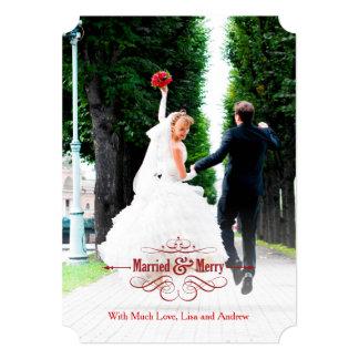 Tarjeta casada del vintage y feliz elegante del anuncios personalizados