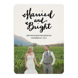 Tarjeta casada y brillante de la foto del día de comunicados personalizados
