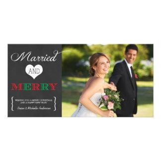 Tarjeta casada y feliz de la foto del día de tarjetas personales