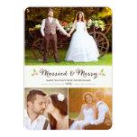 Tarjeta casada y feliz de la foto del navidad del comunicados personales