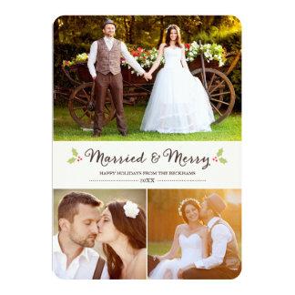 Tarjeta casada y feliz de la foto del navidad del invitación 12,7 x 17,8 cm