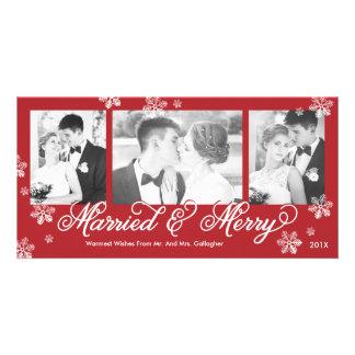 Tarjeta casada y feliz del copo de nieve del día tarjeta personal con foto