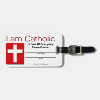 Tarjeta católica del contacto de la emergencia etiqueta para equipaje