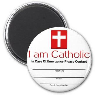 Tarjeta católica del contacto de la emergencia imán redondo 5 cm