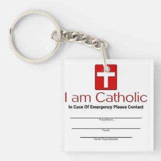 Tarjeta católica del contacto de la emergencia llavero cuadrado acrílico a doble cara