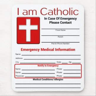 Tarjeta católica del contacto de la emergencia mouse pads