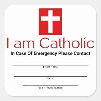 Tarjeta católica del contacto de la emergencia pegatina cuadrada