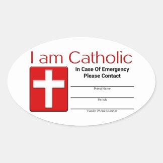 Tarjeta católica del contacto de la emergencia pegatina ovalada