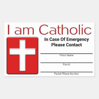Tarjeta católica del contacto de la emergencia pegatina rectangular