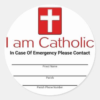 Tarjeta católica del contacto de la emergencia pegatina redonda