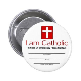 Tarjeta católica del contacto de la emergencia pins